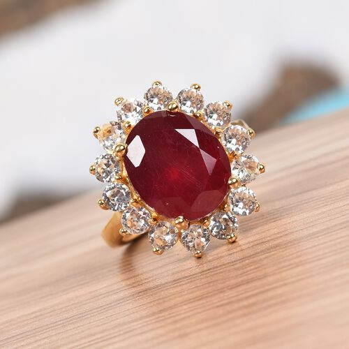 Red Carpet Collection-African Ruby and Natural Cambodian Zircon Ring in 14K Gold Overlay Sterling Silver 10.01 Ct.