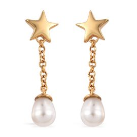 Freshwater Pearl Star Earrings (with Push Back) in 14K Gold Overlay Sterling Silver