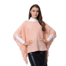 Simulated Pearl Poncho with Tassels (Free Size) Pink Colour