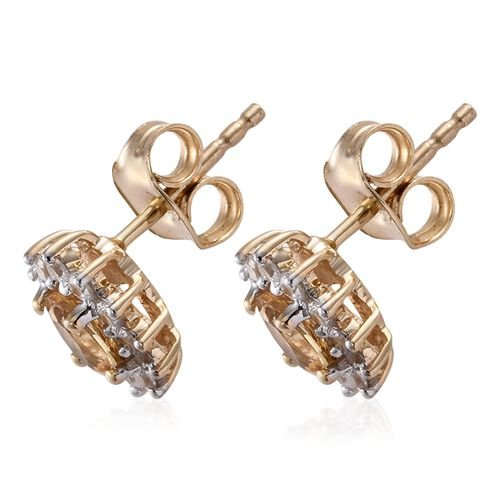 9K Yellow Gold AAA Imperial Topaz (Ovl), Natural Cambodian Zircon Stud Earrings (with Push Back) 1.250 Ct.