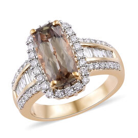 ILIANA 4.99 Ct Rare Turkish Diaspore and Diamond Halo Ring in 18K Gold 6.5 Grams