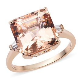 ILIANA 7.75 Ct Asscher Cut AAA Marropino Morganite and Diamond Solitaire Ring in 18K Rose Gold