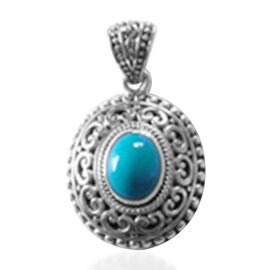 Royal Bali Collection Arizona Sleeping Beauty Turquoise Pendant in Sterling Silver 2.35 Ct. Silver W