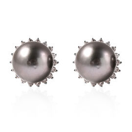 Tahiti Pearl and Natural Cambodian Zircon Halo Stud Earrings (with Push Bcak) in Rhodium Overlay Ste