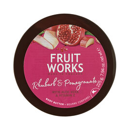 FruitWorks: Rhubarb & Pomegranate Body Butter (With Aloe Vera & Vitamin E) - 225 Gms