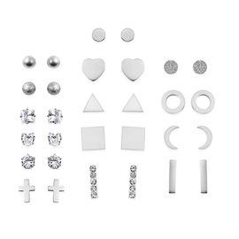Set of 15 -  White Austrian Crystal Earrings