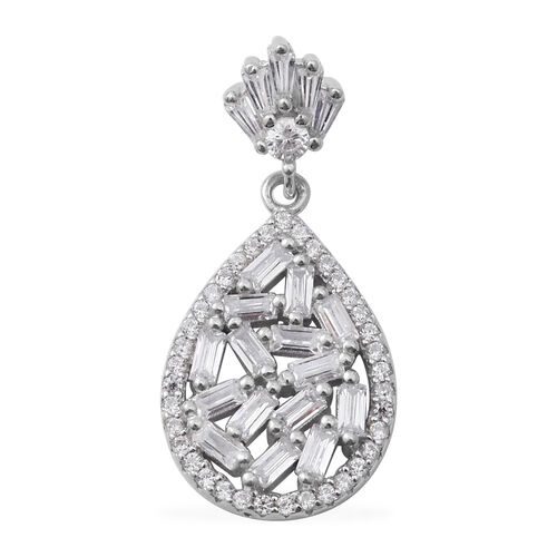 ELANZA Simulated Diamond (Bgt) Drop Pendant in Rhodium Overlay Sterling Silver
