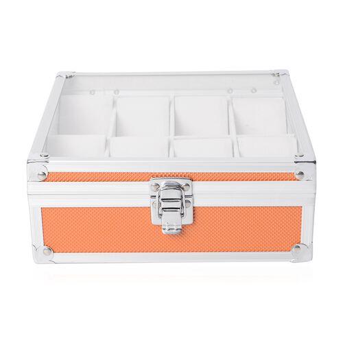 Aluminium 8 Slot Watch Box (Size 21.5x20x8 Cm) - Orange