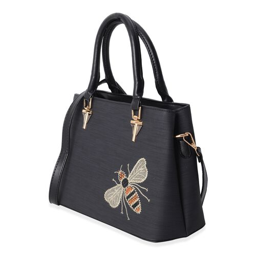 Hong Kong Collection Classic Black Embroidery Bee Design Tote Bag with Removable Shoulder Strap (Size 29x21x12.5 Cm)