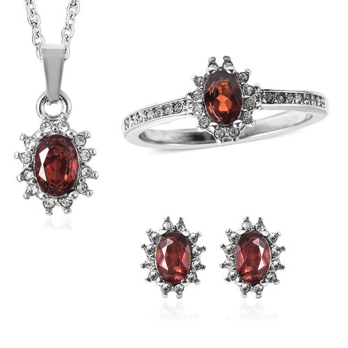 3 Piece Set - Mozambique Garnet and White Austrian Crystal Ring, Earrings (with Push Back) & Pendant
