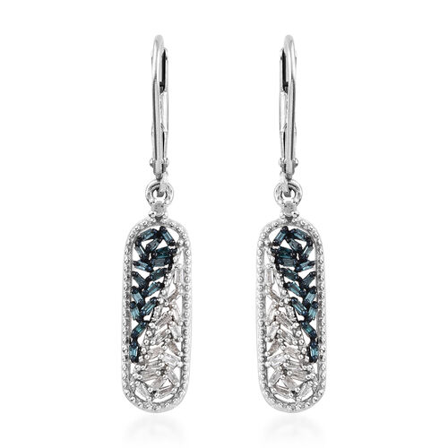 Blue Diamond (Bgt), White Diamond Lever Back Earrings in Platinum Overlay with Blue Plating Sterling Silver 0.330 Ct