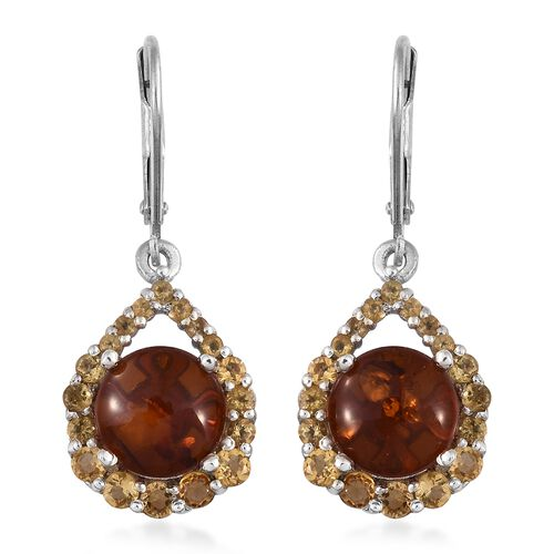 Baltic Amber (Rnd), Citrine Lever Back Earrings in Platinum Overlay Sterling Silver 3.500 Ct.