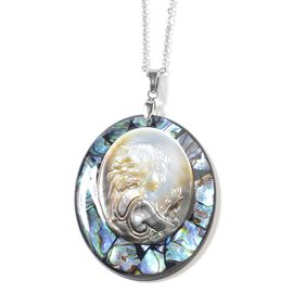 Cameo and Abalone Shell Pendant with Chain in Stainless Steel 24 Inch
