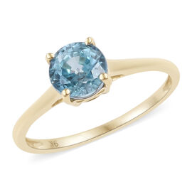 9K Yellow Gold Blue Zircon (Rnd) Solitaire Ring 1.250 Ct.