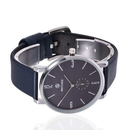 STRADA Silver Colour Plated Water Resistant Watch with Navy Blue Colour Literal and Strap.