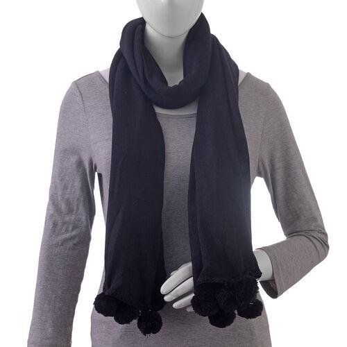 Solid Knit Scarf with Pom Poms (Size 178x80 Cm) - Colour Black