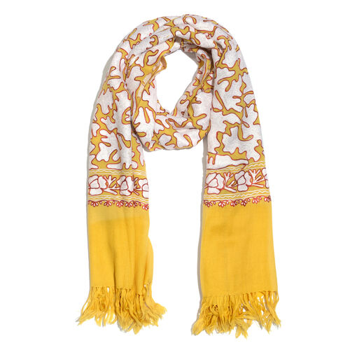 Very Limited Edition 100% Merino Wool Yellow, White and Red Colour Hand Embroidered Shawl with Tasse