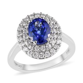RHAPSODY 950 Platinum AAAA Tanzanite (Ovl), Diamond Ring 2.00 Ct.
