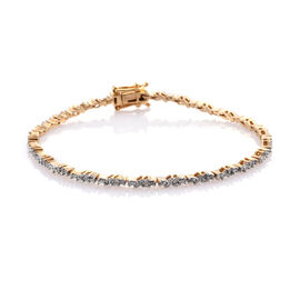 Diamond (Bgt) Bracelet (Size 7.5) in 14K Gold Overlay Sterling Silver 0.750 Ct. Silver wt 7.59 Gms. Number of Diamonds 144