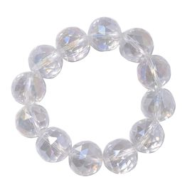 Aurora Borealis Colour Crystal (Rnd 17-19mm) Faceted Beads Stretchable Bracelet (Size 6.0)