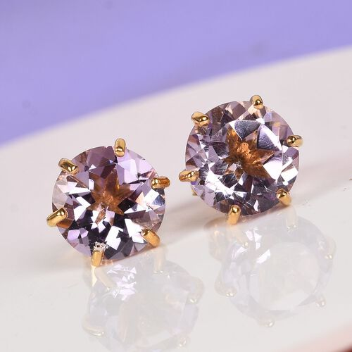 AA Pink Amethyst Solitaire Stud Earrings (with Push Back) in 14K Yellow Gold Overlay Sterling Silver 3.50 Ct