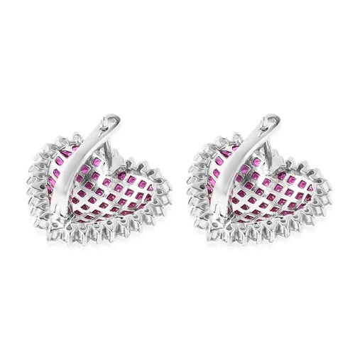Lustro Stella - Mystery Setting Simulated Ruby and Simulated Diamond Heart Earrings (with Clasp) in Rhodium Overlay Sterling Silver
