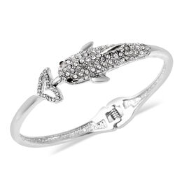 White and Black Austrian Crystal Dolphin Bangle in Silver Tone 6.75 Inch