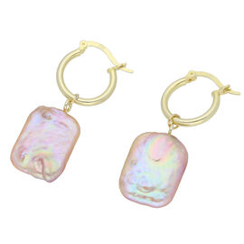 Keshi Pearl Earrings (with Clasp) in Yellow Gold Overlay Sterling Silver