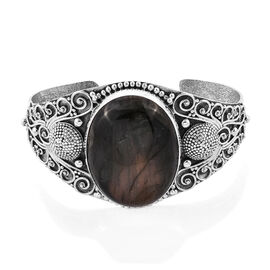 Hand Made Royal Bali Collection Extremely Rare Size Labradorite (Ovl) Cuff Bangle (Size 7.5) in Sterling Silver 86.340 Ct, Silver wt 39.44 Gms.