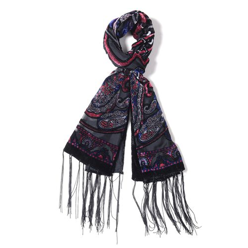 Pink, Blue and Black Colour Devore Style Bandanna Flower Pattern Scarf (Size 160x50 Cm)