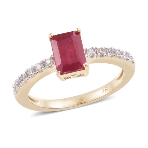 1.75 Ct AA African Ruby and Natural Cambodian Zircon Ring in 9K Gold