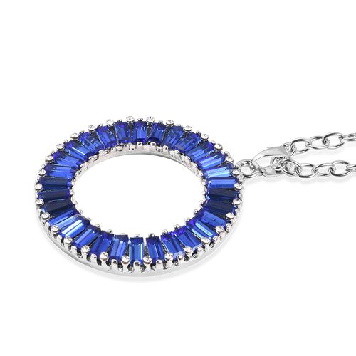 Simulated Tanzanite, Austrian White Crystal Circle of Life Pendant With Chain (Size 21 with 2 inch Extender) Silver Plated