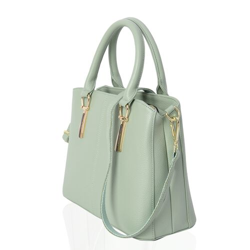 100% Genuine Leather Light Green Colour Tote Bag with External Zipper Pocket and Removable Shoulder Strap (Size 29.5x13x22 Cm)