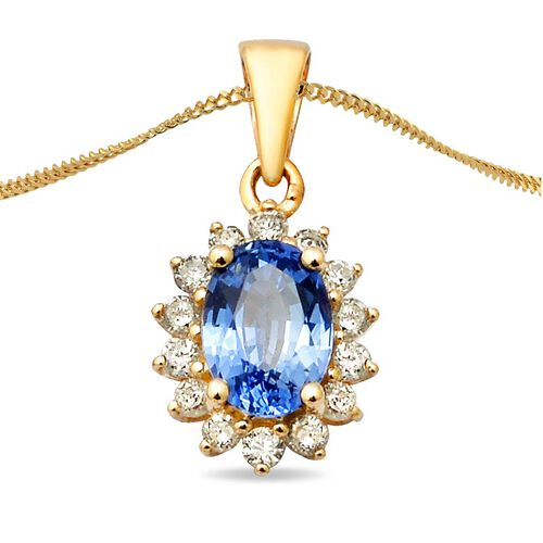 9K Yellow Gold AA Royal Ceylon Sapphire and Diamond (I3/G-H) Pendant 1.29 Ct.