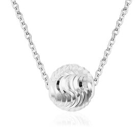 Designer Inspired Rhodium Overlay Sterling Silver Ball Bead Necklace (Size 18), Silver wt 3.00 Gms