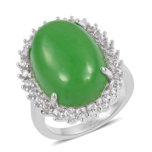 Green Jade (Ovl 14.00 Ct), Natural White Cambodian Zircon Ring in Rhodium Plated Sterling Silver 15.450 Ct.