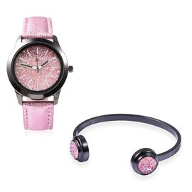2 Piece Set - STRADA Japanese Movement Water Resistant Simulated Pink AB Crystal Watch and Cuff Bang