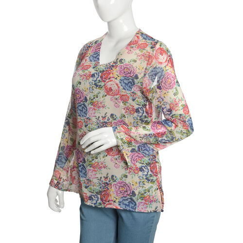 Red, Blue and Multi Colour Floral Printed Tunic (Size 75X55 Cm)