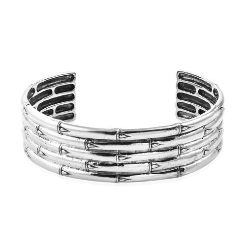 Royal Bali Collection Bamboo Cuff Bangle in Sterling Silver 7.25 Inch