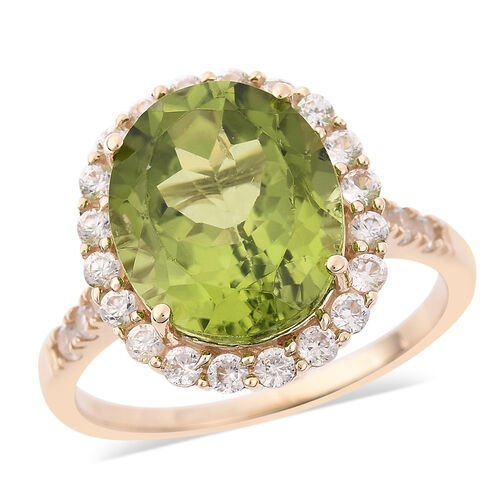 6 Carat AAA Hebei Peridot and Natural Cambodian Zircon Halo Ring in 9K Yellow Gold 2.27 Grams