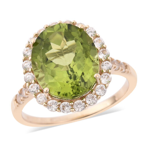 AAA Hebei Peridot and Cambodian Zircon Halo Ring in 9K Yellow Gold 2.27 Grams,6 Carat