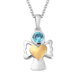 Simulated Aqua Pendant With Chain (Size 20) in Yellow Gold and Platinum Overlay Sterling Silver