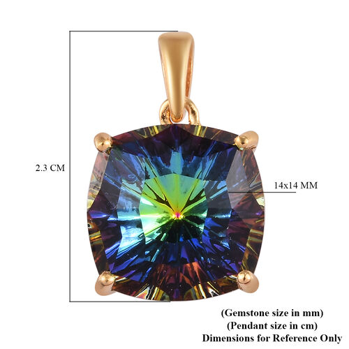 J Francis Crystal from Swarovski Vitrail Medium Crystal Solitaire Pendant in 14K Gold Overlay Sterling Silver
