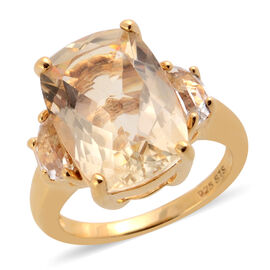 6.77 Ct Citrine and White Topaz Solitaire Design Ring in Gold Plated Sterling Silver