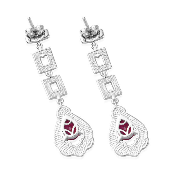 African Ruby Earrings (with Push Back) in Platinum Overlay Sterling Silver 1.75 Ct, Silver wt 5.00 Gms