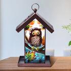 Garden Theme Hand Painted Solar Owl Pattern Lantern Bird Feeder (Size 18x14x33cm) - Brown and Multi