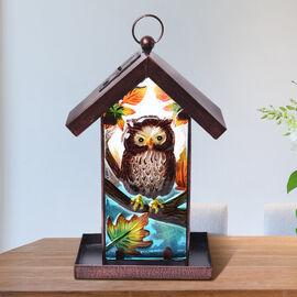 Garden Theme Handmade Solar Lantern Bird Feeder (Size 18x14x33cm) - Owl
