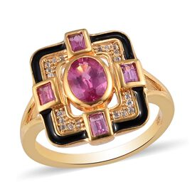 Fissure Filled Pink Ruby and Natural Cambodian Zircon Ring in 14K Gold Overlay Sterling Silver 1.570