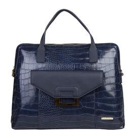 Bulaggi Collection - Cynthia Croco Print Laptop Bag with Slip Pocket at Front (40x31x06cm) - Dark Bl