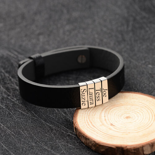 Personalise Engravable 4 Charm PU Leather and Stainless Steel Bracelet,10 inches